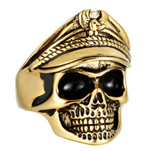 MINCN mens ring Titanium Steel Double Eagle Officer Ring Retro Punk Tide Male Stainless Undead Legion Skull
