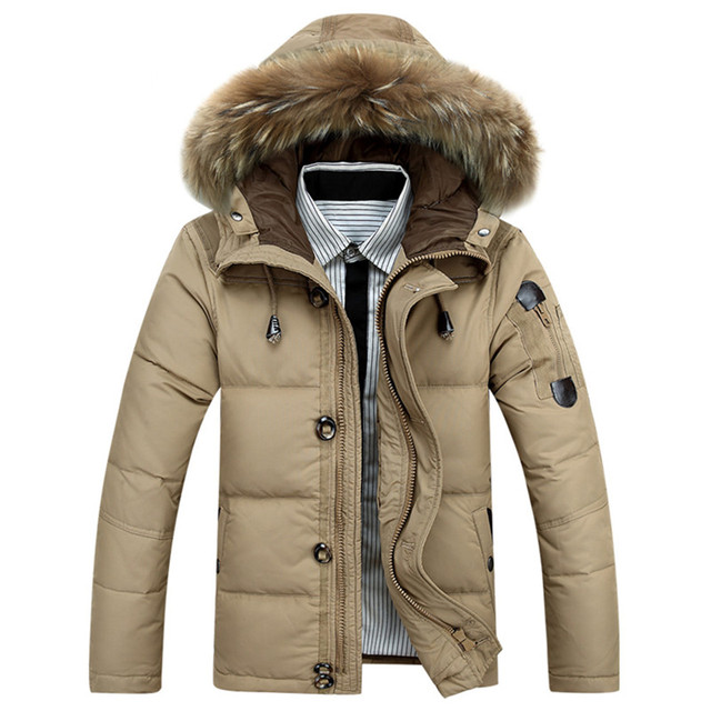 2016 Thicking Warm Winter Down Jacket for Men Windproof Fur Hooded Collar Parkas Hooded Coat High Quality Men Outwear