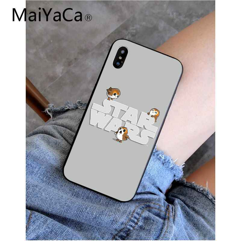 MaiYaCa Star Wars El último Jedi Porgs negro suave de TPU, cubierta del teléfono de silicona para iPhone X XS X MAX 6 6s 7 7plus 8 8Plus 5 5S SE XR