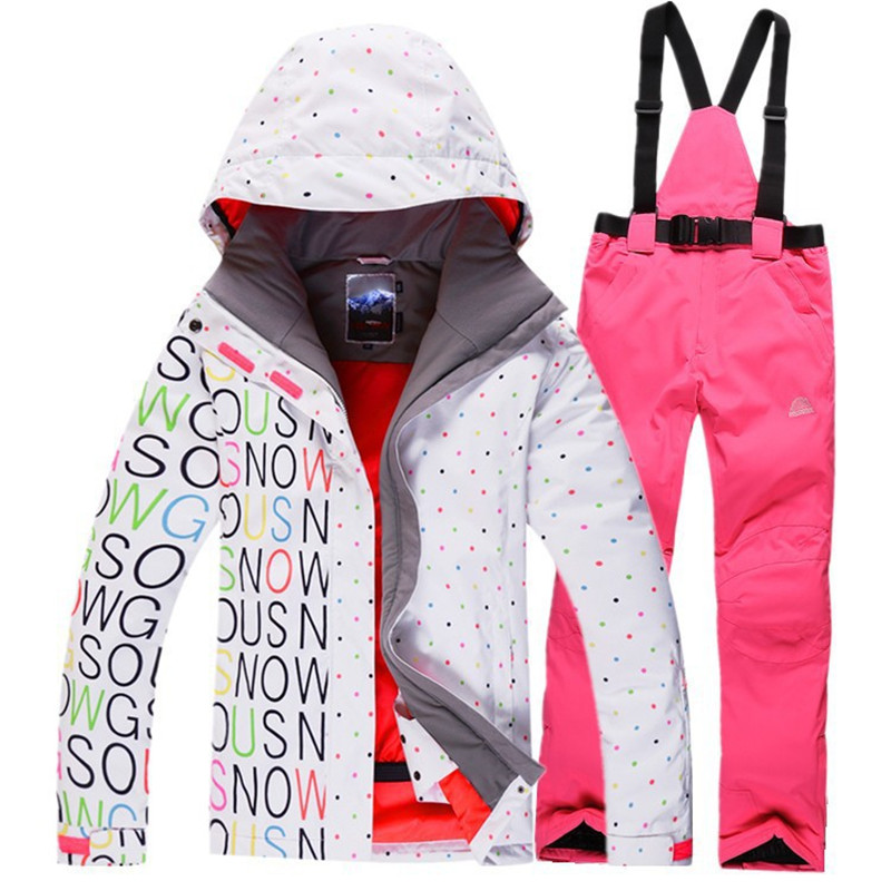 Snow Clothing Woman Ski Suit sets Waterproof Windproof Breathable Snowboarding skiing Jacket+Bib Pants white and black Letters brand gsou snow technology fabrics women ski suit snowboarding ski jacket women skiing jacket suit jaquetas feminina girls ski