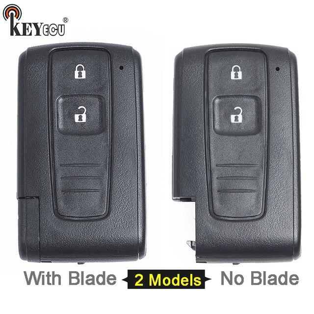 KEYECU עבור טויוטה פריוס החלפת חכם מרחוק רכב מפתח Shell Case Fob 2 כפתור עם/לא נימול להב (רק מעטפת)