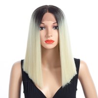 ELEGANT MUSES 16 Straight 7 Colors Hair Wigs For Women Synthetic Lace Front Heat Resistant Wigs