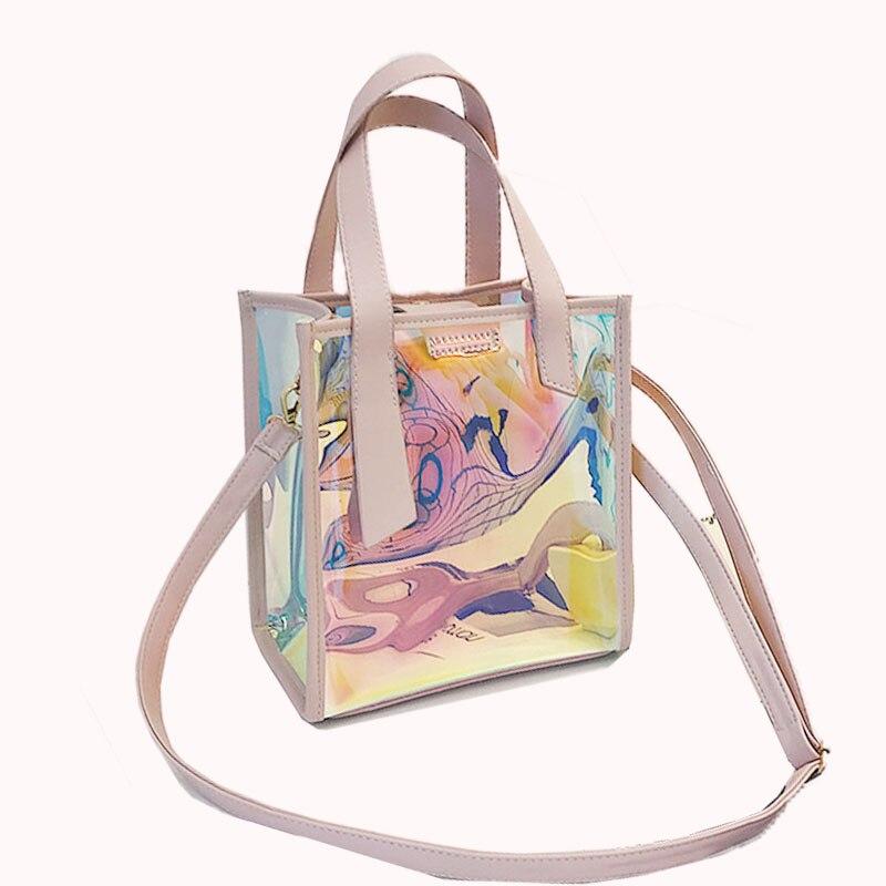 2018 реальные Bolsos Mujer ПВХ сумка Для женщин лазерной прозрачный плечо Кроссбоди желе сумочка Водонепроницаемый посылка 2 шт. T025