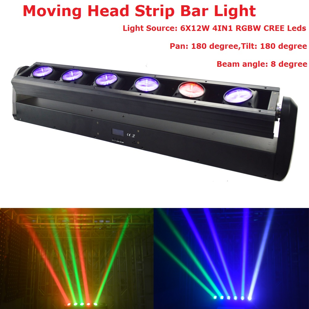 Free Shipping LED Bar Beam Moving Head Lights 6X12W RGBW 4IN1 CREE LEDS Beam Light 90-240V For Holiday XMAS Decoration