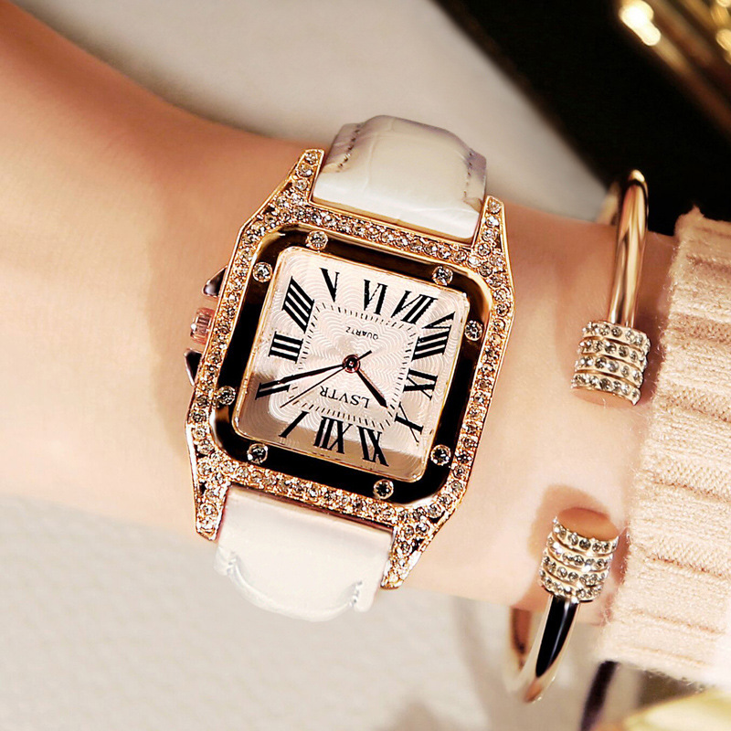 Women Square Diamond Wrist Watches For Ladies Dress Crystal Quartz Clock Leather Strap Bracelet Watch Zegarek Damski Reloj Mujer