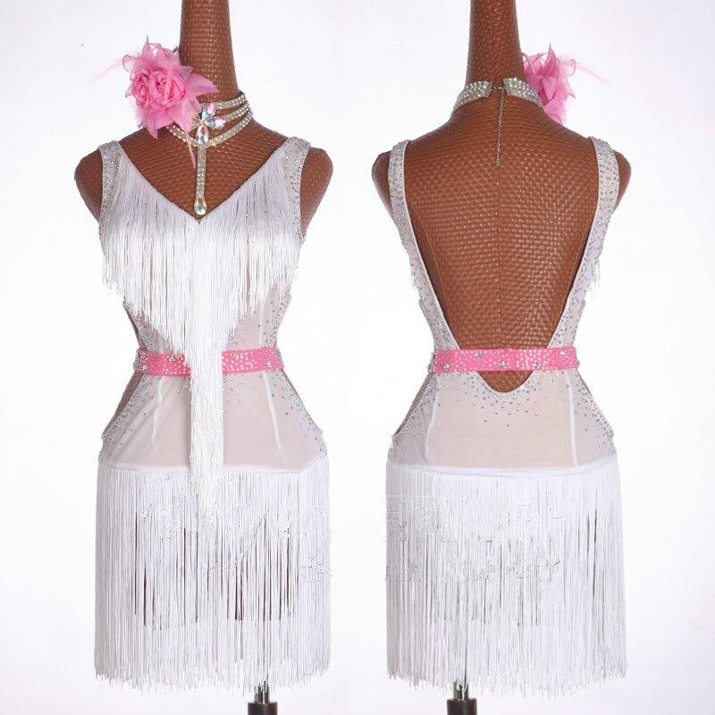 Robe de danse latine blanche femmes Salsa Dancewear danse Costume robes de concours de salle de bal Tango adulte frange Sequin