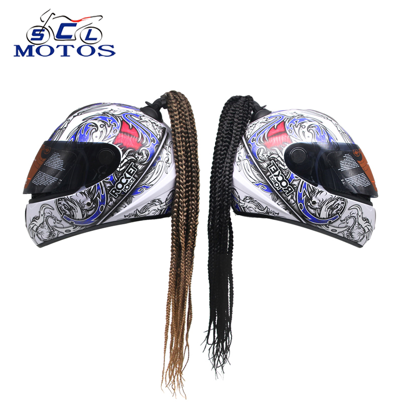 Sclmoto -Man Women Motorcycle Helmet Decoration Twist Braid Dreadlocks Motocross Motorbike Off Road Punk FreeStyle Racing