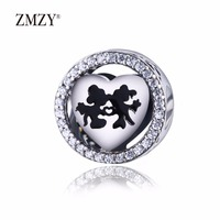 ZMZY Authentic 925 Sterling Silver Charms Mickey Minnie Love Clear CZ Fits Pandora Charm Bracelet Jewelry