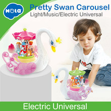 HOLA 536 Kids Electronic Pet Flashing Musical Cartoon Electric Universal Swan Carousel Musical Box Educational Toys for Children(China)
