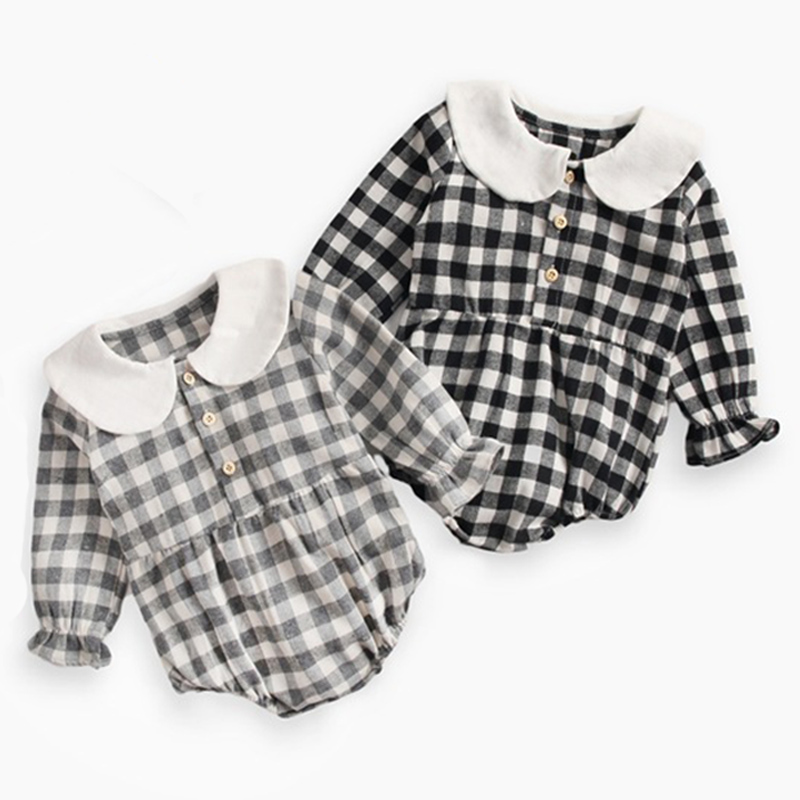 Baby Bodysuit Neonatal 0-3 Year Old Baby Cotton Doll Collar Institute Style Girl Lotus Leaf Sleeve Wrapped Butt Lattice Shirt
