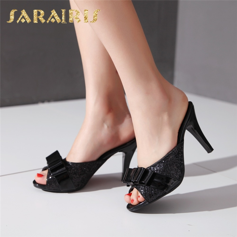 цена SARAIRIS 2018 Large Size 32-43 Sweet Bow Summer Party Woman Shoes Women Sexy Bling Upper Mules Pumps Shoes Footwear
