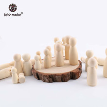 Let's Make 10pcs Peg Dolls Maple Wood Unpainted Wooden Teether Hardwood Natural Unfinished Turnings-Paint/Stain Teething Toys 1 7 43mm wooden peg dolls 100pc lot natural unfinished high quality turnings ready for paint waldorf woman