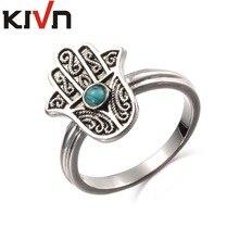 KIVN Fashion Jewelry Filigree Hamsa Womens Girls Antique Vintage Blue Stone Rings Christmas Birthday Mothers Day