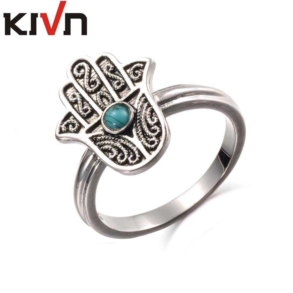 KIVN Fashion Jewelry Filigree Hamsa Womens Girls Antique Vintage Blue Stone Rings Christmas Birthday Mothers Day Gifts