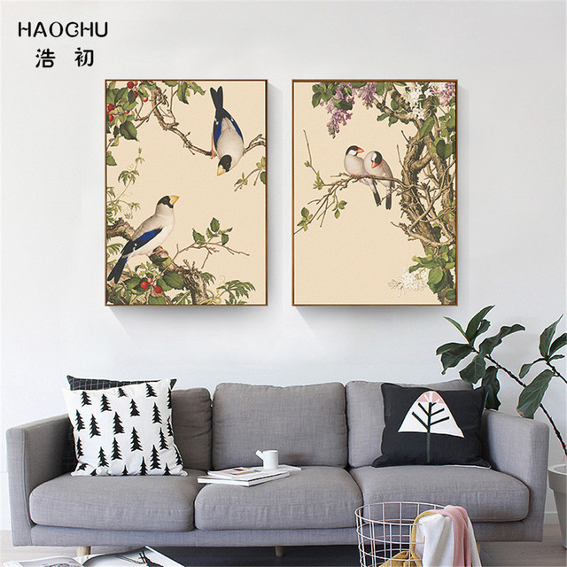 Us 5 94 30 Off Haochu New Chinese Style Birds And Flowers Murals Wall Art Canvas Painting Wall Painting Poster Decorations For Home Study Cafe In