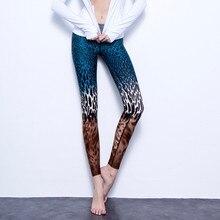 Women Gradient Leopard Print Blue Fitness Quick Dry Exercise Leggings High Waist Full Length Energy Pants Trousers Ropa Mujer