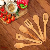 High Quality 6 Pieces Bamboo Spoon Spatula Mixing Set Utensil Kitchen Wooden Cooking Tool For Home