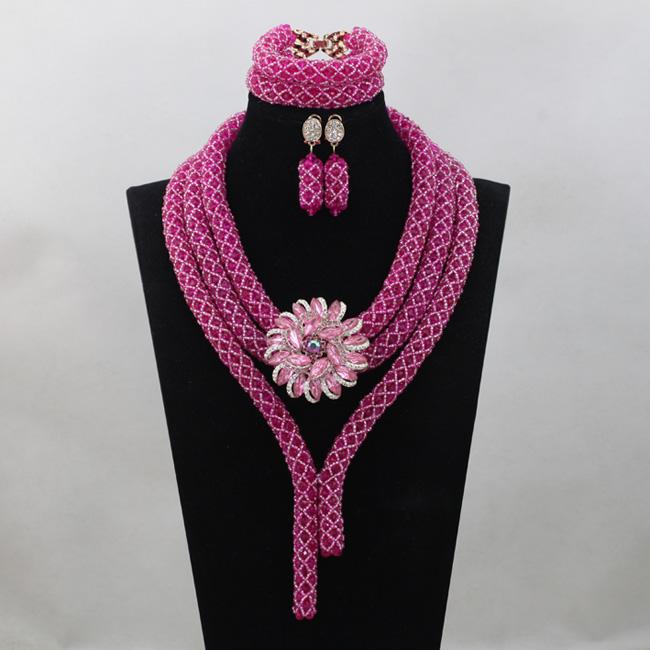 Fushia Pink Crystal Wedding Jewelry Set Chunky African Nigerian Beads Indian Bridal Necklace Jewelry Sets Free Shipping ABL975Fushia Pink Crystal Wedding Jewelry Set Chunky African Nigerian Beads Indian Bridal Necklace Jewelry Sets Free Shipping ABL975