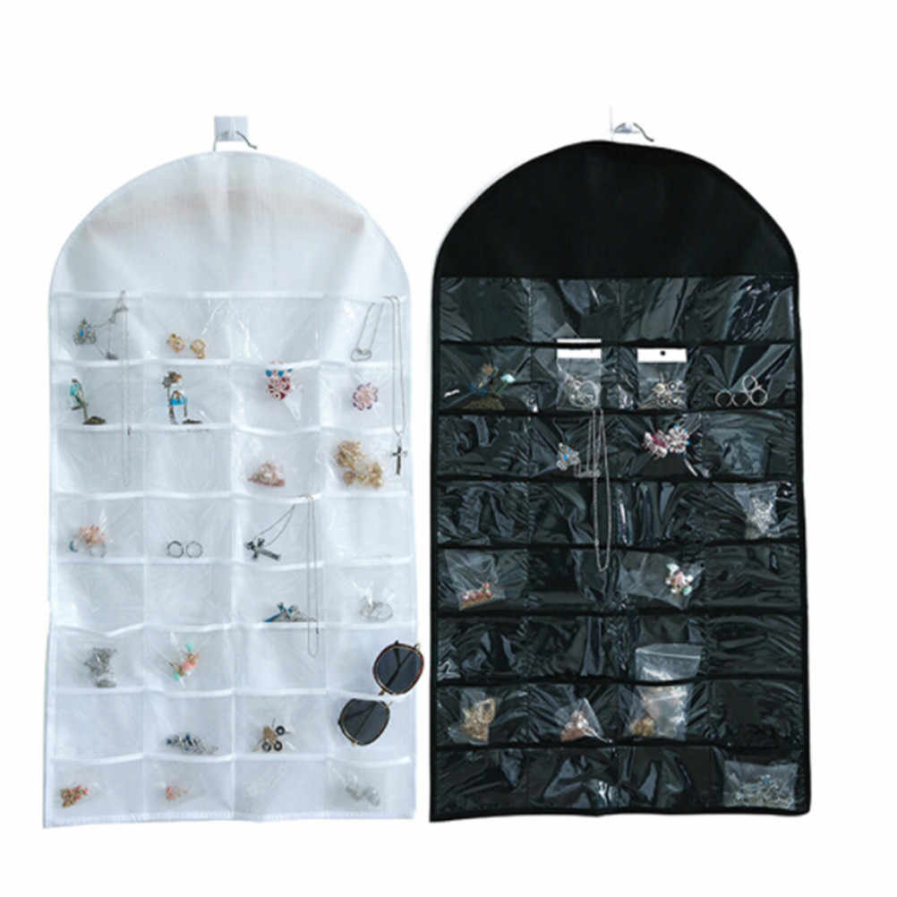 Dual Sided Storage Display Pouch Jewellery 32 Pockets Jewelry Hanging Organizer Earring Necklace Jewelry Display Holder