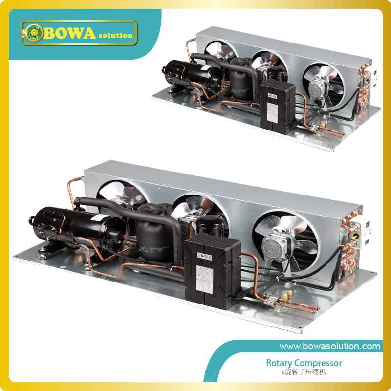 0.75HP air cooled condensing unit is with hermetic rotary compressors, oil separator, 3-in-1 components,etc., wonderful design