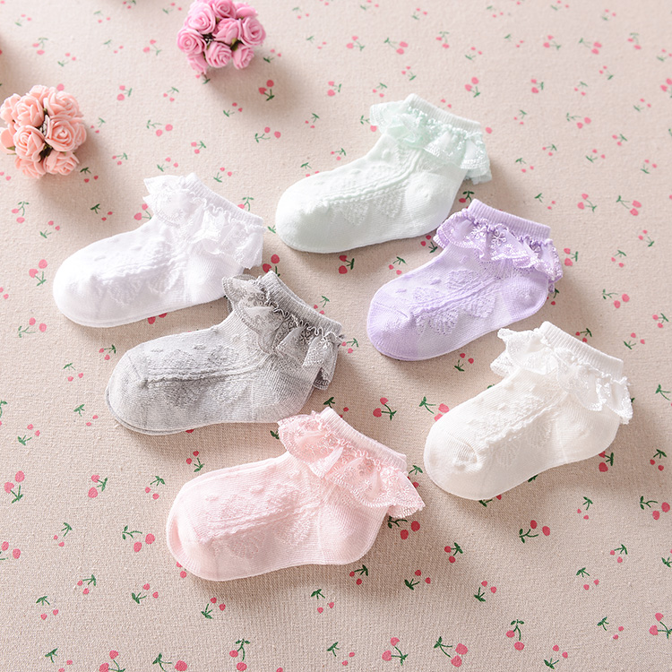 New summer Candy Colors Retro Lace Ruffle Frilly Ankle Short Socks Kids Princess Baby Girl Socks Retail one pairs