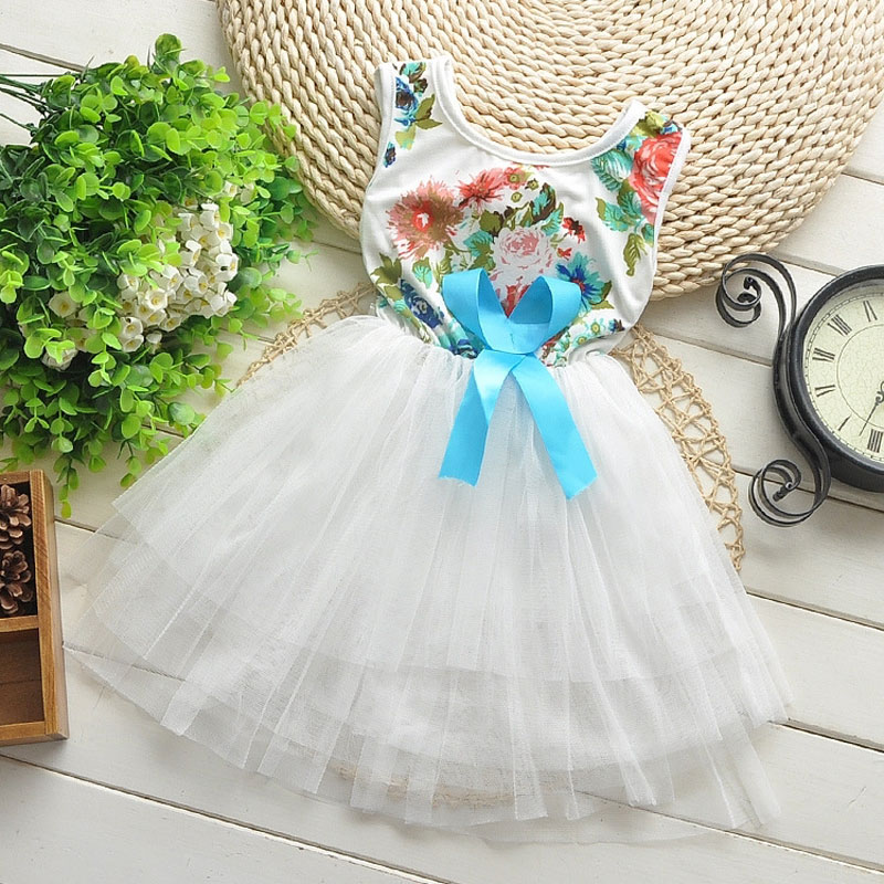 Toddler Girl children clothing brand flower white dress costume for summer girl kids clothes party princess tutu dresses dress free shipping 2016 summer kids girl dress princess dresses cartoon the black cat costume children toddler clothes top sale