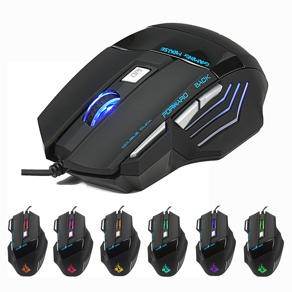 High-end Regolabile 5500 DPI USB Wired Gaming Mouse 7 Tasto Led Optical Mouse Gamer Giochi per Computer Notebook Laptop PC