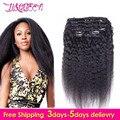 African American Clip In Human Hair Extensions Virgin Peruvian Hair Yaki Kinky Straight Coarse Human Hair Clips In Extension