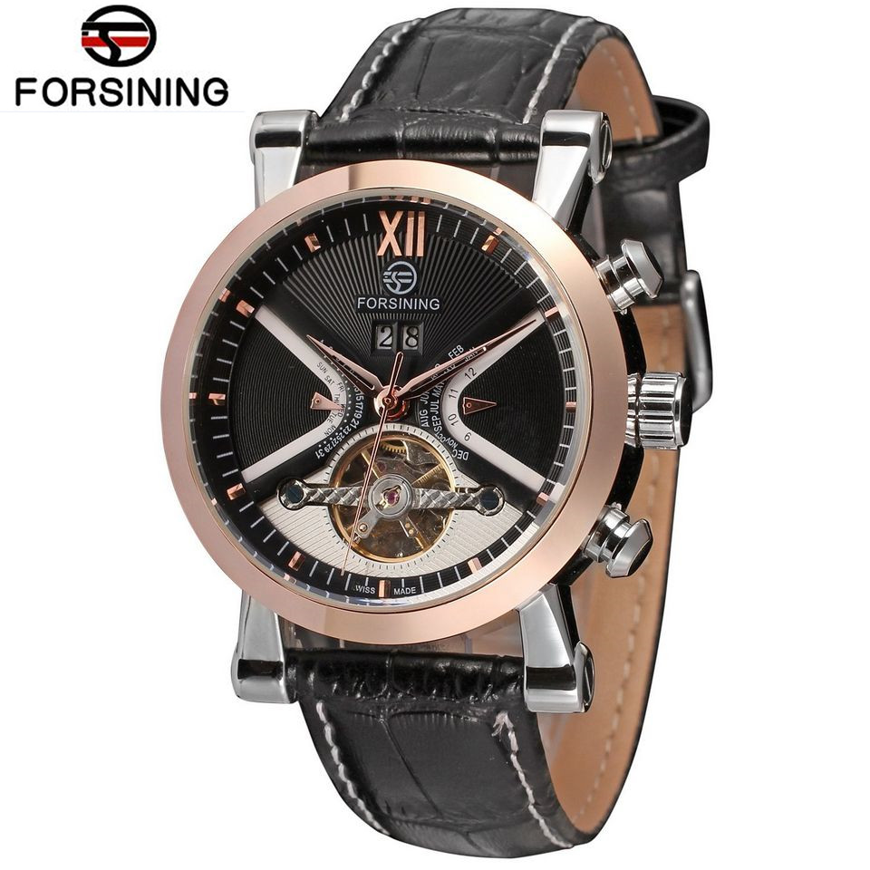 FORSINING Brand Men Leather Strap Tourbillon Automatic Mechanical Watch Fashion Male Flywheel Date Wristwatch Relogio Releges forsining a165 men tourbillon automatic mechanical watch leather strap date week month year display
