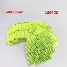 100 шт абсолютно новая супер мощность зеленый отражатель лист 60x60 мм Светоотражающая Целевая лента для съемки