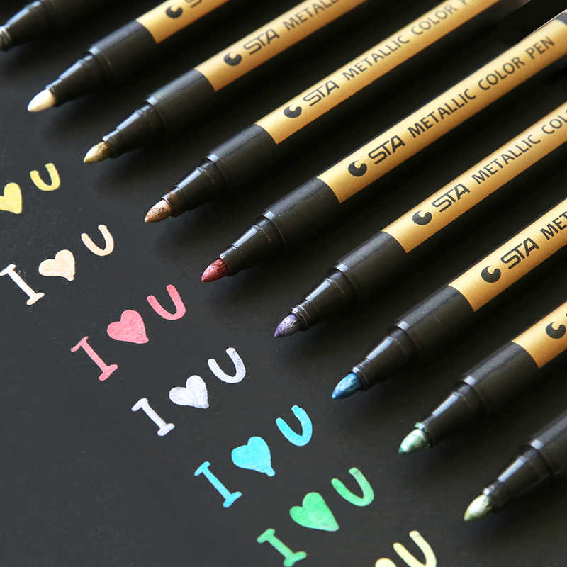 Marqueur de dessin de stylo de couleur métallique de signature de marque de bureau