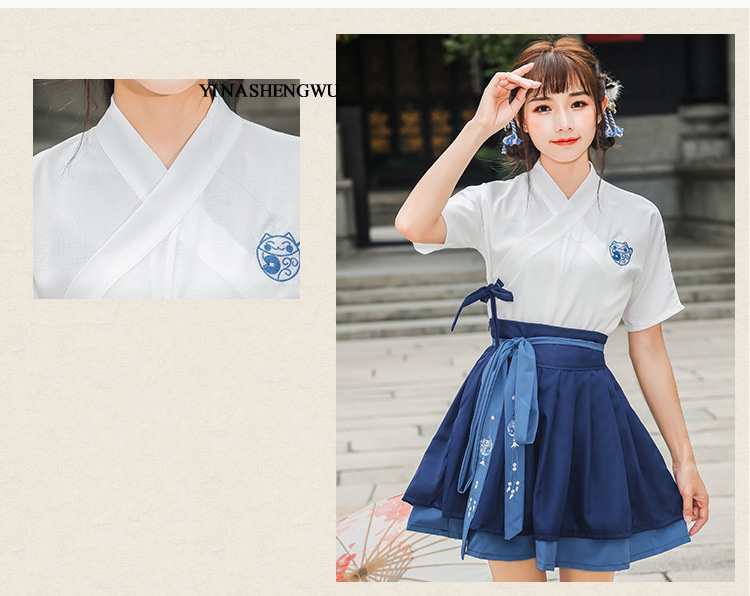 Hanfu Costume Dress Women Improved Hanfu Daily Short Sleeve Hanfu Embroidered Crossdresses Costumes Han Elements Student Set 7