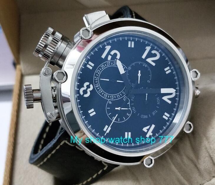 50mm parnis zwarte wijzerplaat linkerhand type Automatische Self Wind beweging multifunctionele lichtgevende mannen horloges dfgd202A-in Sporthorloges van Horloges op  Groep 1