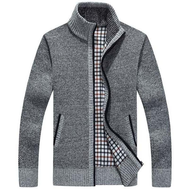 2018 Mens Sweaters Coat Autumn Winter Warm Cashmere Wool Zipper Cardigan Sweaters Man Casual Thick Knitwear Plus Size M-XXXL