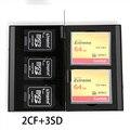 5 в 1 Алюминиевый Ящик Для Хранения Сумка Случай Карты Памяти Бумажник Большой Емкости Для 3 * SD Card 2 * CF карты