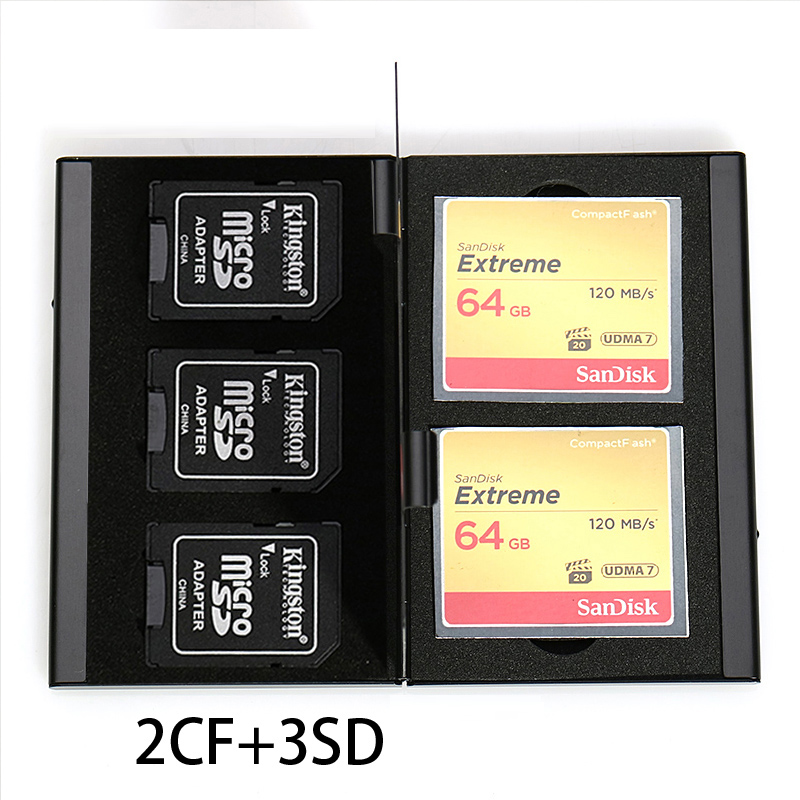 5 in 1 Aluminum Storage Box Bag Memory Card Case Holder Wallet Large Capacity For 3* SD Card 2* CF Card