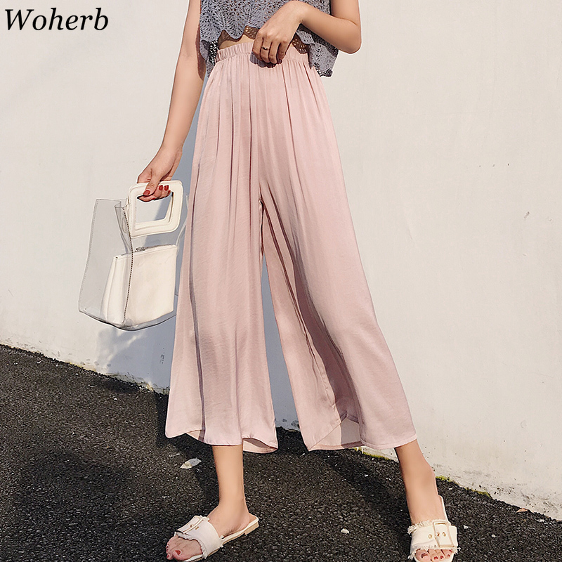 Woherb Elastic High Waist   Wide     Leg     Pants   Casual Solid Trousers Women 2019 Summer Thin Chiffon   Pant   Loose Pantalones Mujer 22212