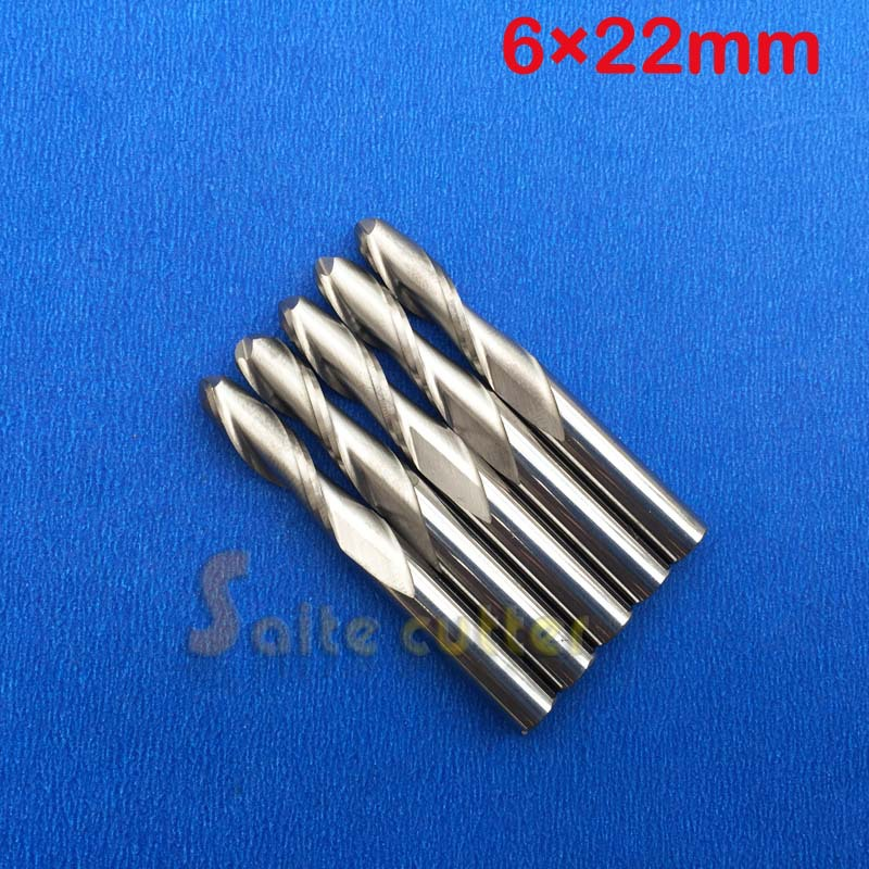 5pcs/lot 6X22mm 2 Double flutes ball end mill,milling cutters,cutting tools,solid carbide,cnc router bits,free shipping  цены