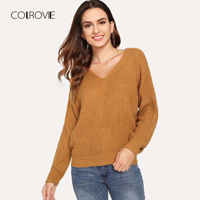 ad5dc4c3ea COLROVIE Pink Criss Cross V Back Chunky Knitted Casual Women Sweater 2018  Autumn Solid Khaki Sweater