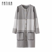 FATIKA 2017 Autumn Winter Women S Fashion Cardigan Sweaters Ladies Striped Patchwork Color Pockets Tops Knitted