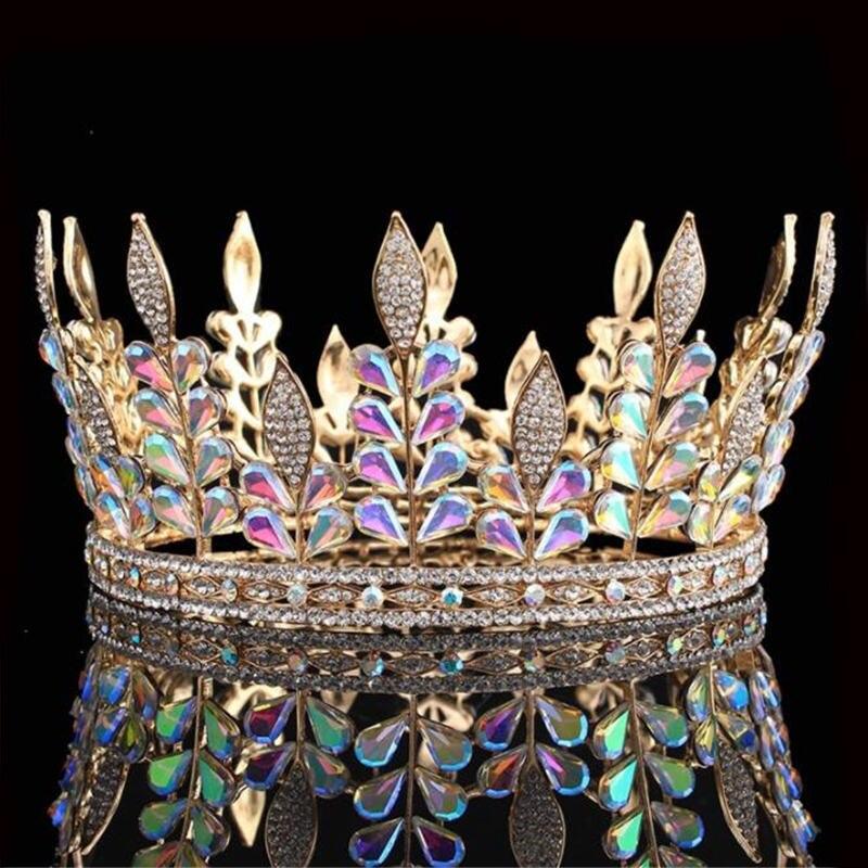Rétro reine roi mariée diadème couronne pour femmes coiffure mariée mariage photographie danse luxueux couronne cheveux accessoires