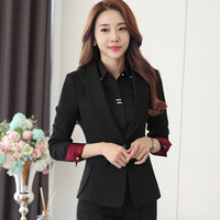Winter Woman Blazer Suit Long Sleeve Trousers Formal Wear Lady Single Button Tailored Collar Business Work