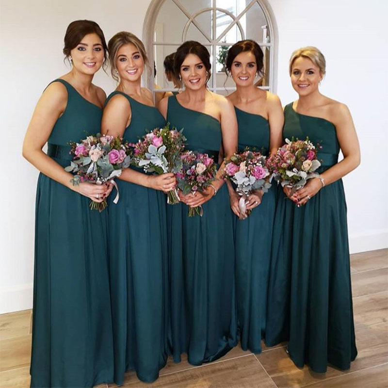Simple Dark Green   Bridesmaid     Dresses   One Shoulder Long Chiffon Formal Party   Dresses   For Women Cheap Maid of Honor Gown