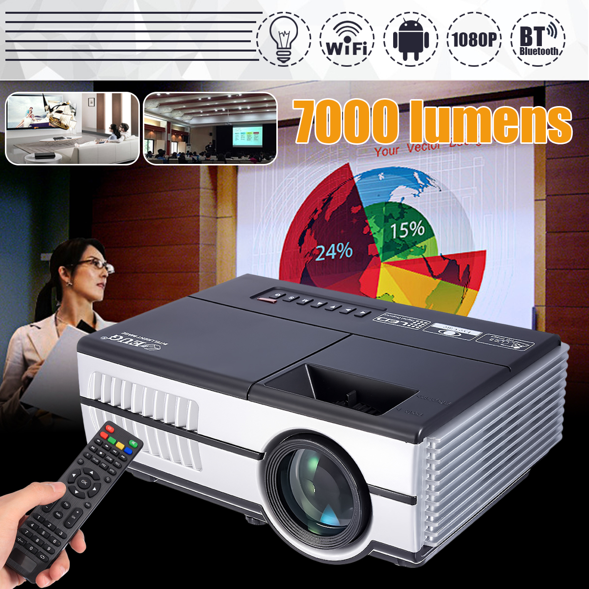Max 7000Lumens 1080P Full HD LED Projector 3D Home Theater Cinema LCD Wireless HDMI AV/VGA/USB/SD/HDMI/TV Multimedia Beamer cocoepps casual denim ankle length trousers large size high waist fashion women s jeans 2017 women stretch pencil pants 5xl 6xl