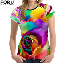FORUDESIGNS Summer Clothing Short Sleeve T shirt Women Flowal Rose Clothes Tops Female Tee Red Casual tshirt Femmes Vogue