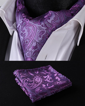 RF310PS Purple Paisley  Ascot Tie Pocket Square Woven Men Party wedding Tie Necktie Handkerchief Set