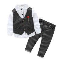 Conjuntos de Vestuário 2017 Meninos Primavera Outono 3 Peças Set Camisa + colete + Calça Meninos Roupas De Casamento Conjuntos de Roupas Para 2 ~ 6 Anos