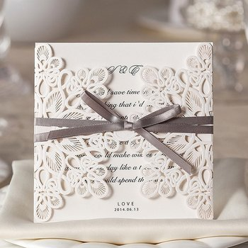 50pcs/lot Elegant Blank White Laser Cut Wedding Invitation Card with Ribbon, for Quinceanera Baby Shower Birthday Party Favors