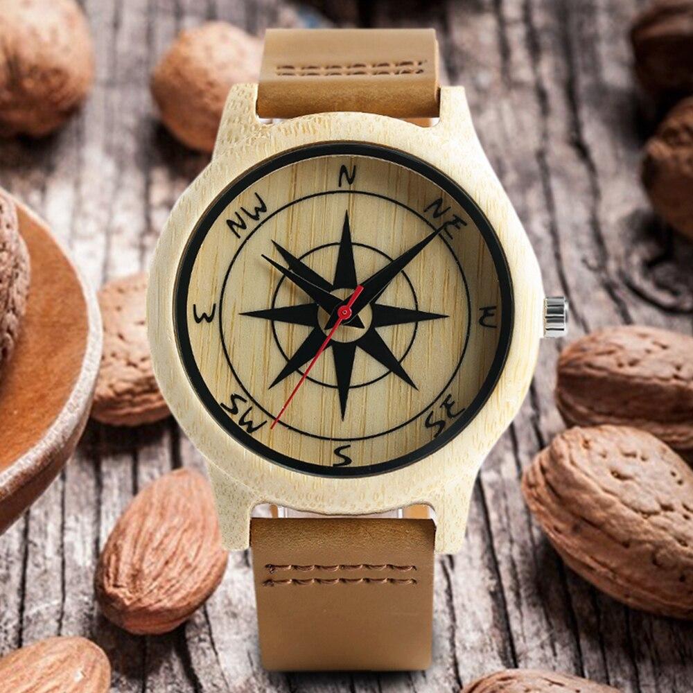 Минималистский природы деревянные часы Творческий компас циферблат Bamboo Подлинная Кожаный ремешок Кварцевые Мужские наручные часы Reloj де М...