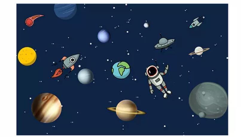 Foto Kustom 3d Kamar Wallpaper Kartun Digambar Tangan Kosmik